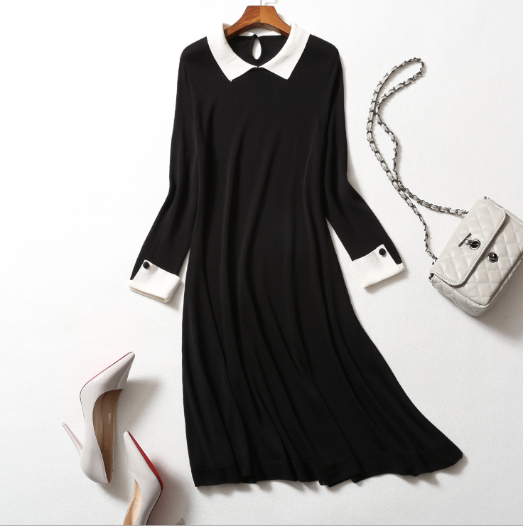 20 new products forever girl classic contrast color small lapel knitted dress
