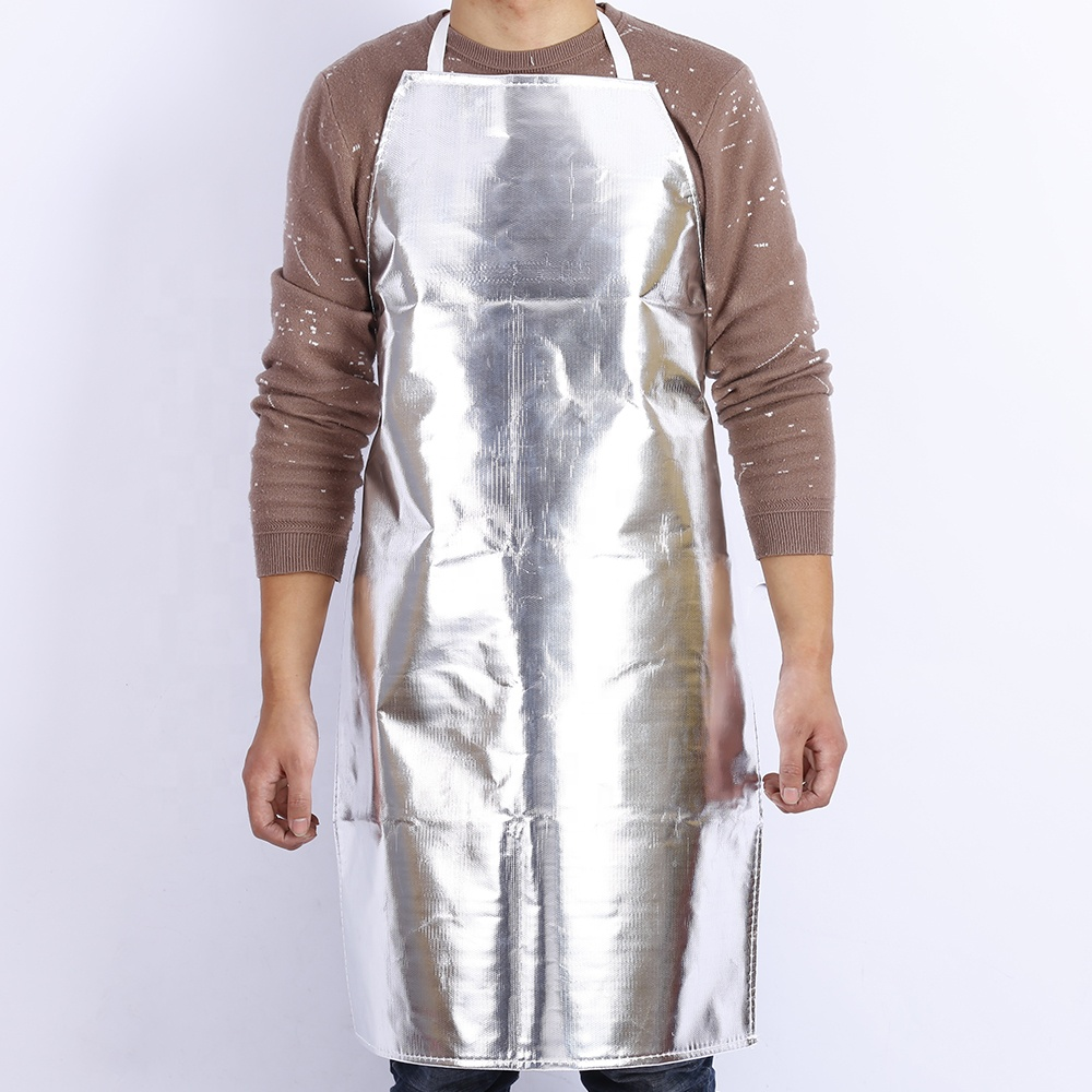 Using in steelworks shipyard chemical plant fire proof anti heat radiation proof aluminum foil canvas protective apron - KingCare | KingCare.net