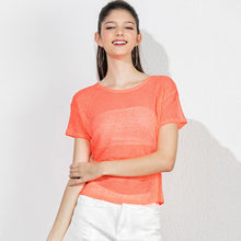 Heliar Прозрачная женская Повседневная сетчатая открытая блузка, блестящая Сексуальная Блузка, Женская оранжевая рубашка, уличная блузка для ...(Китай)