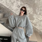 Womens Solid Color Loose Long-sleeved Pullover Sweater And Harem Pants Suit Womens Hoodies Suit