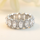 Ring Eternity Rings Solid Silver 925 Rhodium Ring White Gold Wedding Band Baguette Diamond Cz Eternity Band