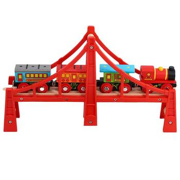 Wooden Thomas train bulk track accessories track red bridge series track scene educational toys