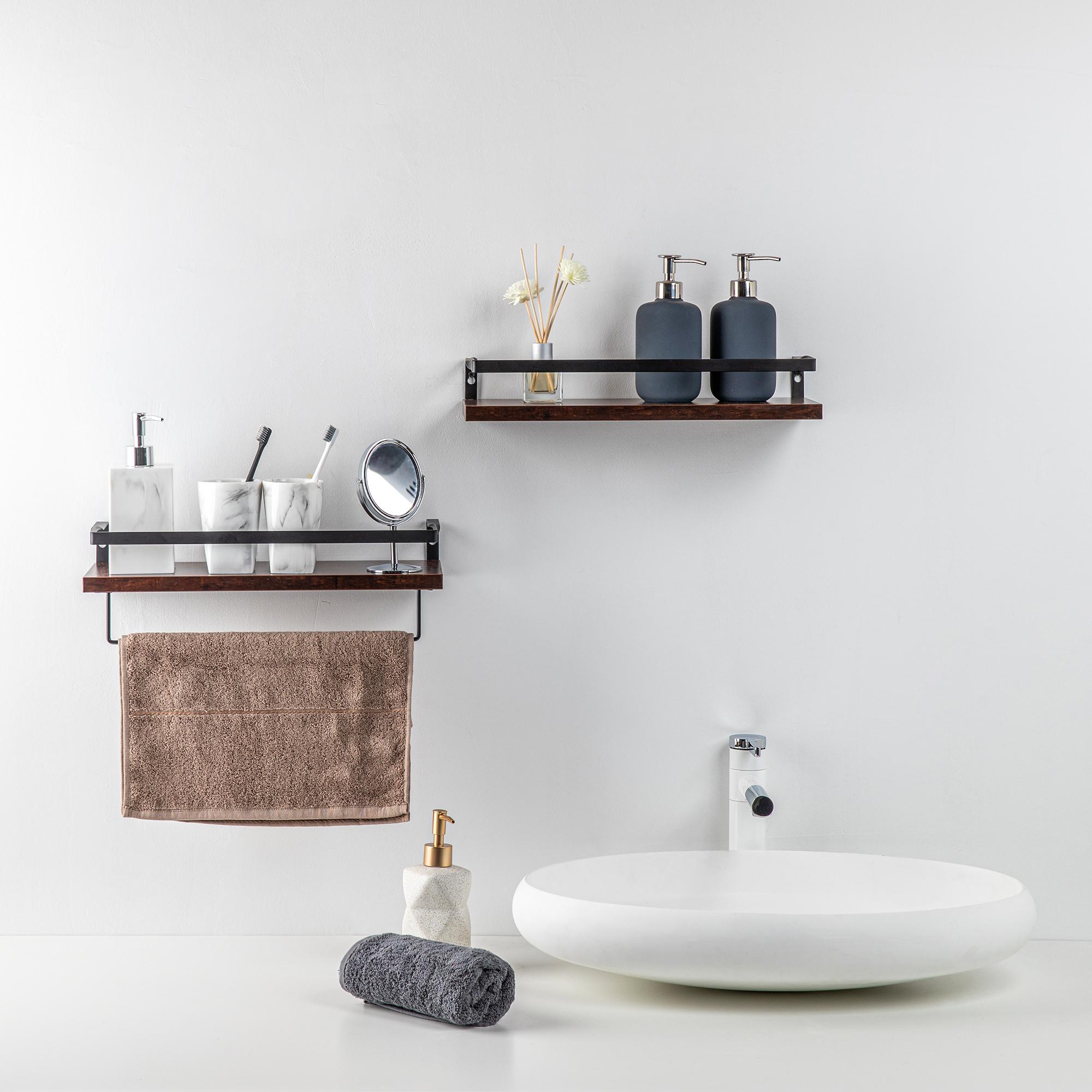 Set of 2 Rustic wood Storage hanging display Shelf Racks Wall Mounted wooden Floating Shelves For Kitchen Bathroom Bedroom
