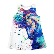 Новое летнее милое платье без рукавов с единорогом для девочек, летняя детская юбка, лето 2020(Китай)