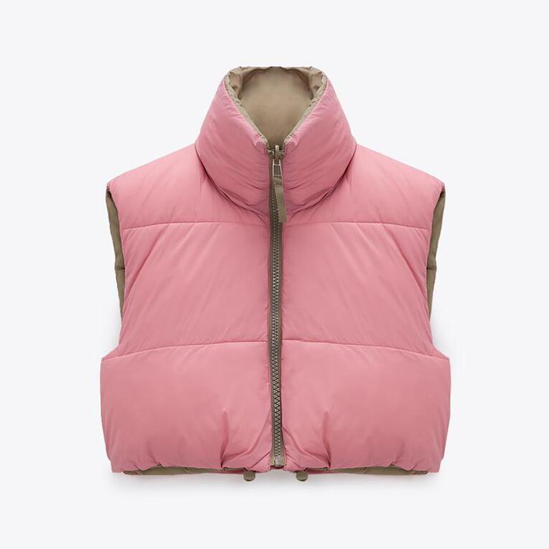 Хлопковые жилеты с воротником-стойкой, Женские однотонные пальто на молнии, жилеты с высокой талией для дам