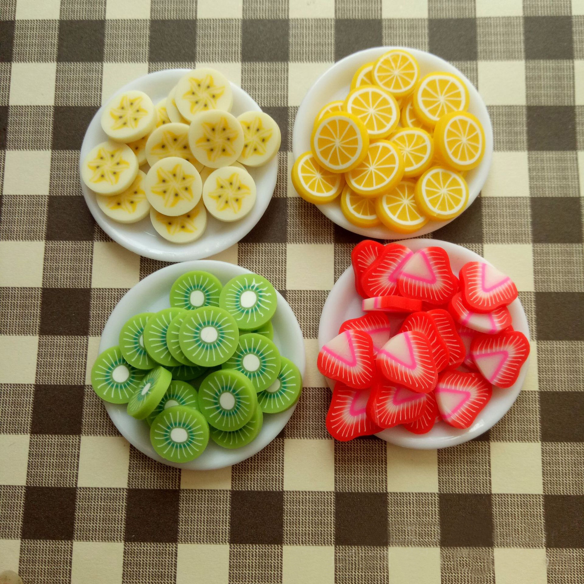 Simulation fruit small strawberry kiwi fruit orange banana slice DIY food game accessories toys