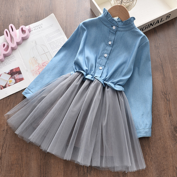 SE53441 New frock design for Child Clothing Princess Dress Pink Long Sleeve cotton casual dresses
