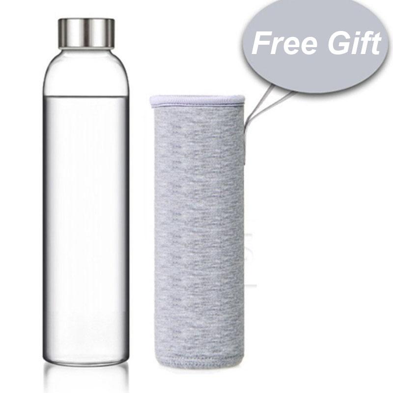 Стеклянные бутылки для воды, прозрачные портативные спортивные бутылки для воды, герметичные наружные бутылки для воды для путешествий, пе...(Китай)