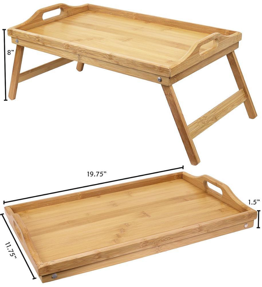 Прочный поднос для завтрака, Бамбуковый стол для ноутбука с складными ножками