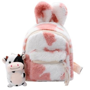 Girls Fashion Furry Bag Kids Sweet Pink Green Backbag Korean Style Candy Colors Big Ears Zipper Bag with Cute pendant