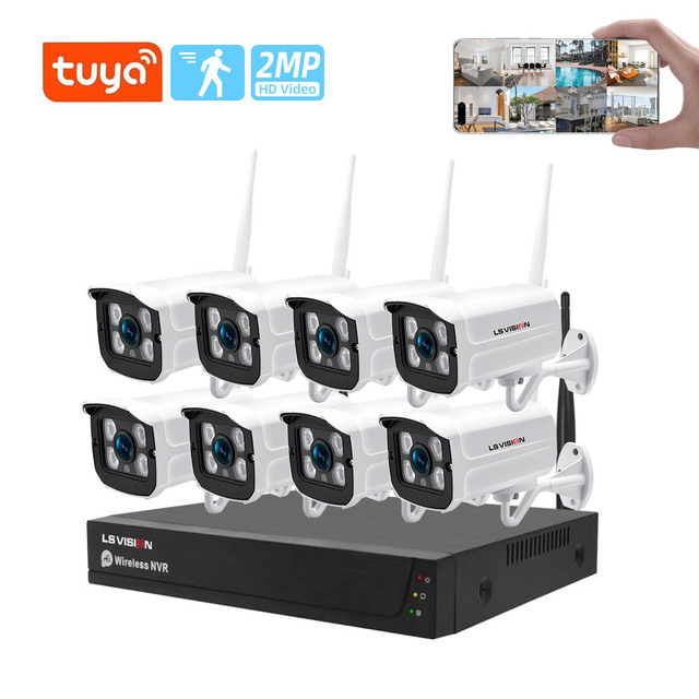 Tuya Home Security Camera System Wireless 4CH 8CH 2MP HD Waterproof NVR Kit 1080P P2P Video Surveillance Outdoor CCTV System