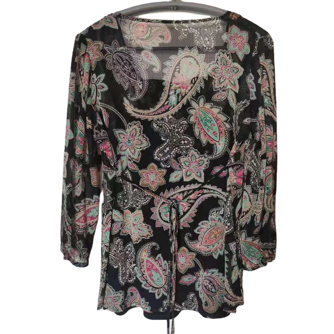 Sequin geometric abstract light cooked Quarter Length Long Sleeve Shirt