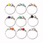 surgical steel 2 color beads round nose ring body piercing jewelry nose pin