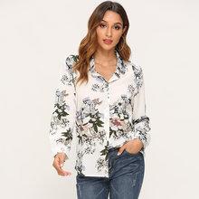 Повседневные женские топы и блузки, весна-осень 2020, блузка с длинным рукавом и принтом, винтажные свободные женские топы, футболки, модные пр...(China)