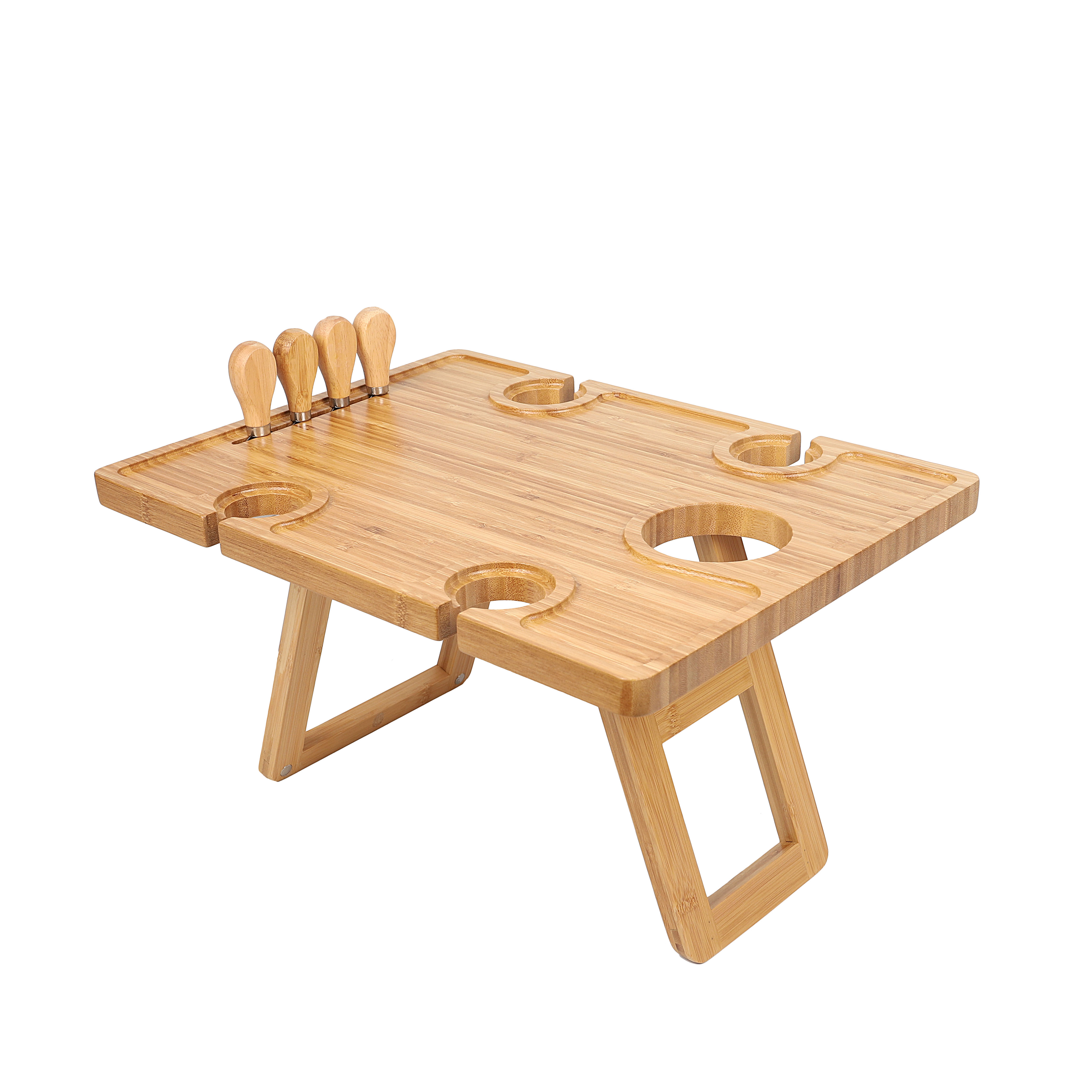 Bamboo Wooden Acacia Outdoor Collapsible Folding Snack Wine Picnic Table Park Portable with Wine Glass Holder