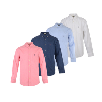 Factory supplier casual 100% cotton plain dyed button up long sleeve latest fashion design men shirt
