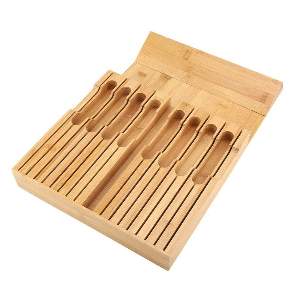 Bamboo Knife Block In-Drawer Knife Organizer Hold up to 16 Knives