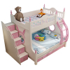pink bunk bed,no drag bed and ladder cabinet and slide