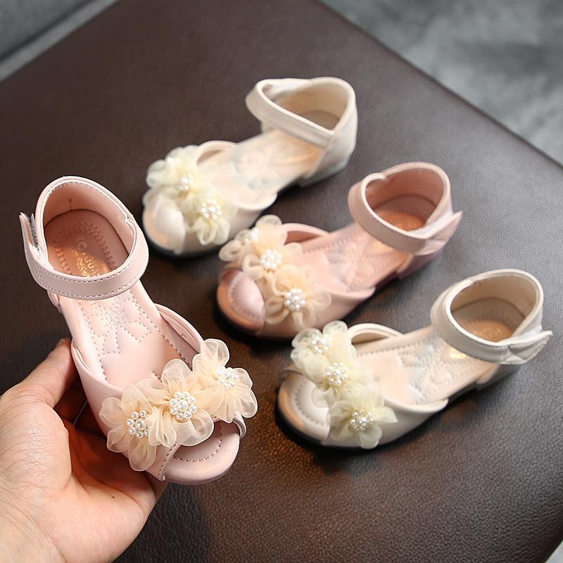 B10963A Детская летняя обувь для девочек с жемчугом и открытым носком