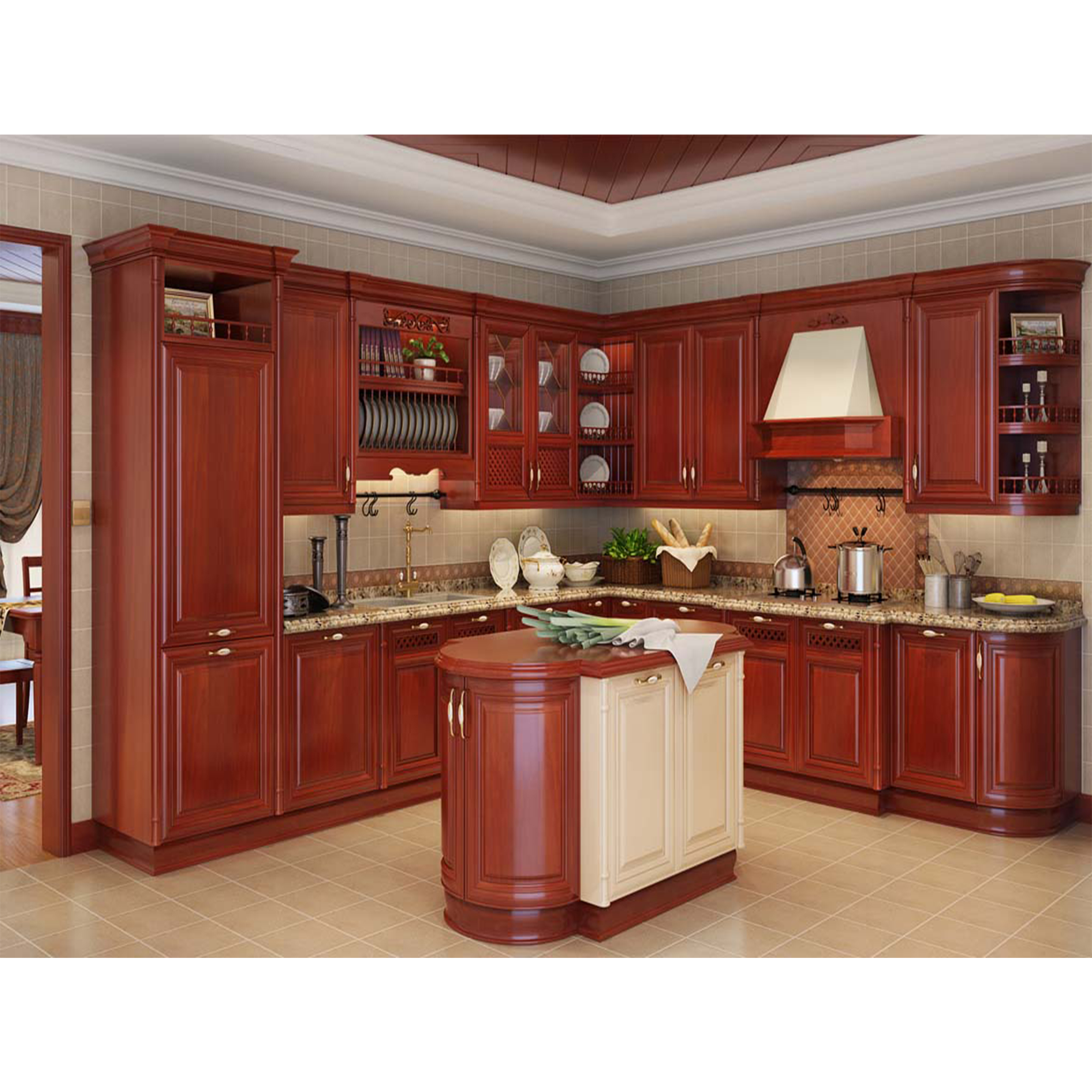 Foshan Modular Solid Wood Kitchen Cabinets Wooden Furniture Double ...