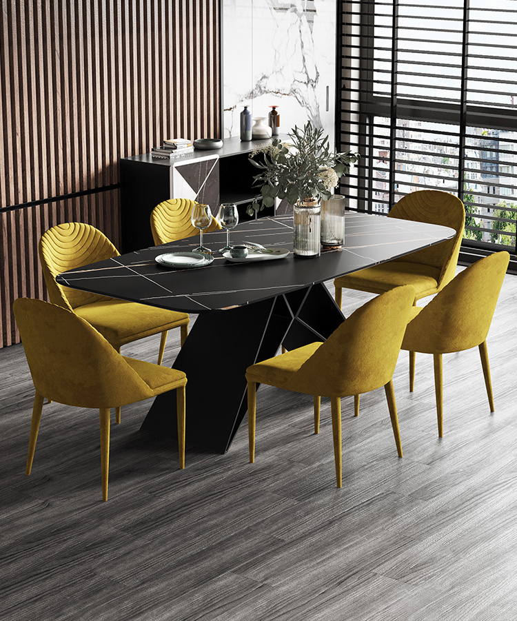 Hot Sale Modern Design Black Marble Top Rectangle Dining Table With 6 Yellow Velvet Fabric Chairs For Dining Room Furniture Buy Dining Room Sets Marble Dining Table Set Dining Table Sets 6 Chairs