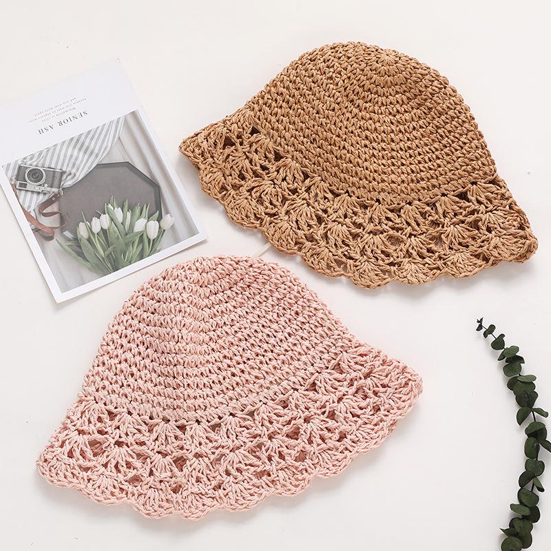 Summer Handmade Straw Knitted Children Hats Girls Outdoor Summer Sunscreen Baby Straw Hat