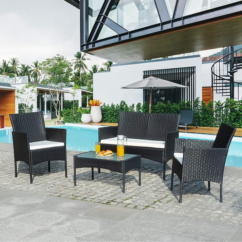Мебель для патио, 4 предмета, плетеный уличный набор для разговора, уличная плетеная мебель из ротанга, садовая мебель, набор диванов.