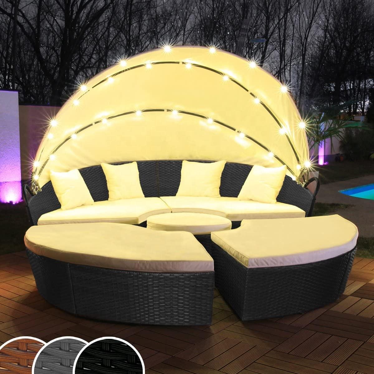 Садовой мебели из ротанга день кровати со светодиодными огнями RLF-00088A