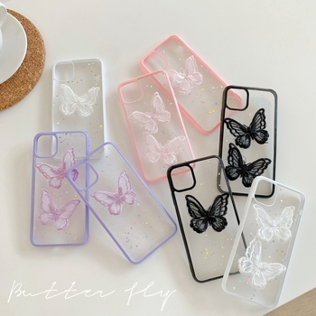 Dropshipping for iPhone 11 Butterfly Case 3D Clear Hard Glue 6 7 8 Plus Mobile Cases for Teen Girl X XS Max Xr Covers for Womens