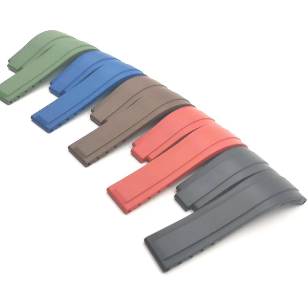 OEM design custom logo high quality factory made FKM rubber watch strap fluoro rubber band for rol x watch