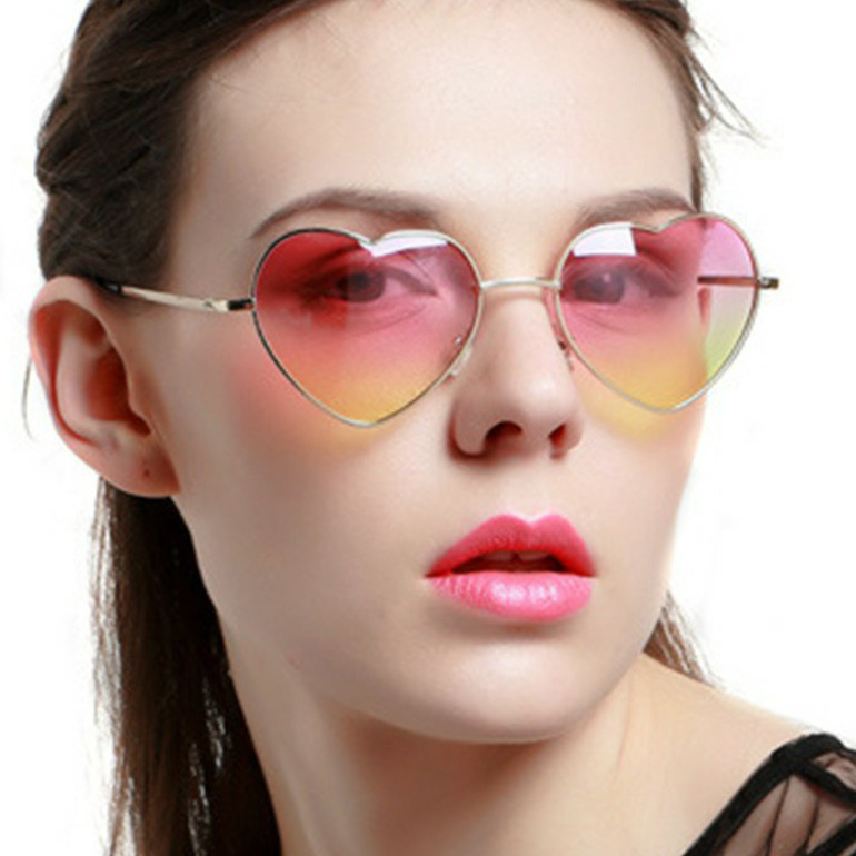 2021 New Funky Popular Shades Ladies Vintage Heart Shape Metal Frame Sun Glasses Luxury Women Designer Men Fashion Sunglasses