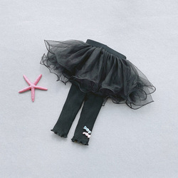 Леггинсы для девочек KBE94007, Осень-зима, юбка-штаны для малышей, юбка-пачка из газовой ткани, штаны с юбкой, детские леггинсы с оборками
