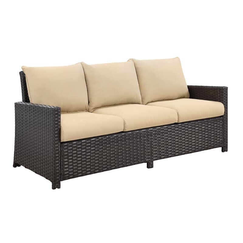 patio 6 piece low dinning set, wicker rattan outdoor garden furniture sofa chair set with cushions