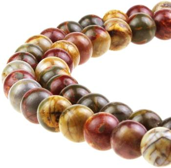 Best Sellers Natural Stone Beads Red Picasso Round Loose Beads for Jewelry Making DIY Bracelet Necklace