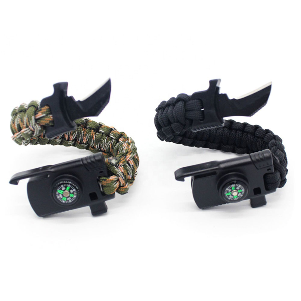 7 in 1 Survival Blade Tactical Outdoor Knife Paracord Bracelet with Firestarter