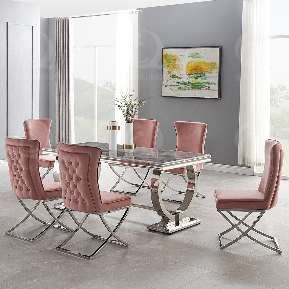 Hot Sale Home Furniture Dining Room Table Sets Stainless Steel ...