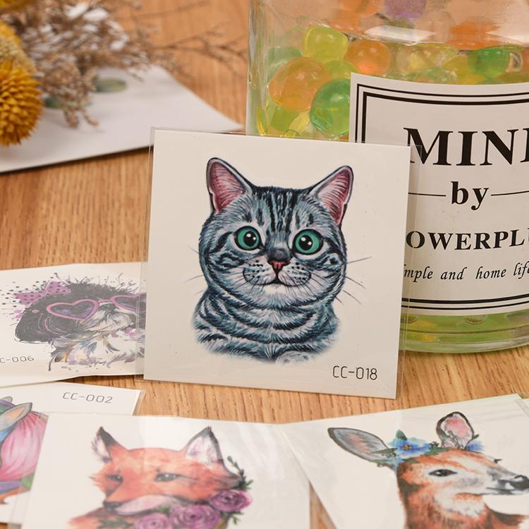 Waterproof cute cartoon animal tattoo stickers with cat bunny dog tatoo designs temporary tatoo removal for kids body art