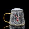 GlGlass Lid Tea Cup-Red Bead Pendant