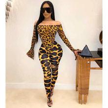 Сексуальный леопардовый змеиный принт, комплект из двух предметов, Женская праздничная одежда, боди, топ и брюки-карандаш, 2 предмета, Клубна...()