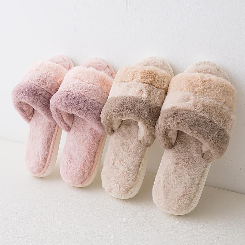 Women Fur Slides Slippers Open Toe Fluffy House Indoor Slides