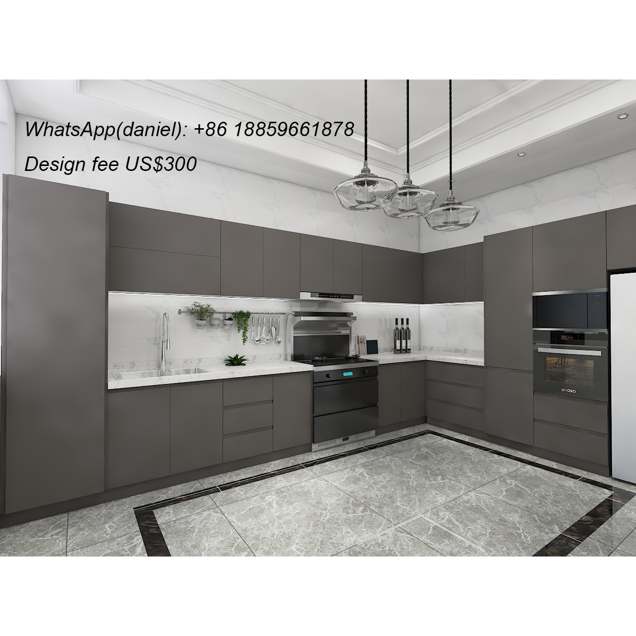 L Shaped Modern Kitchen Cabinets With Glass Door   Buy Kitchen ...