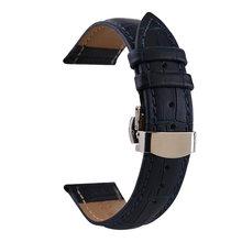 Многоцветный кожаный ремешок Geunine, двойной пресс, автоматическая пряжка-бабочка, бамбуковый ремешок для часов 10/12/13/14/15/16/17/18 мм(Китай)