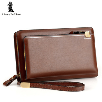 XIANGFUNIAO Brand Men Clutch Bag Fashion Leather Long Purse Double Zipper Business Wallet Black Brown Male Casual Handy Bag