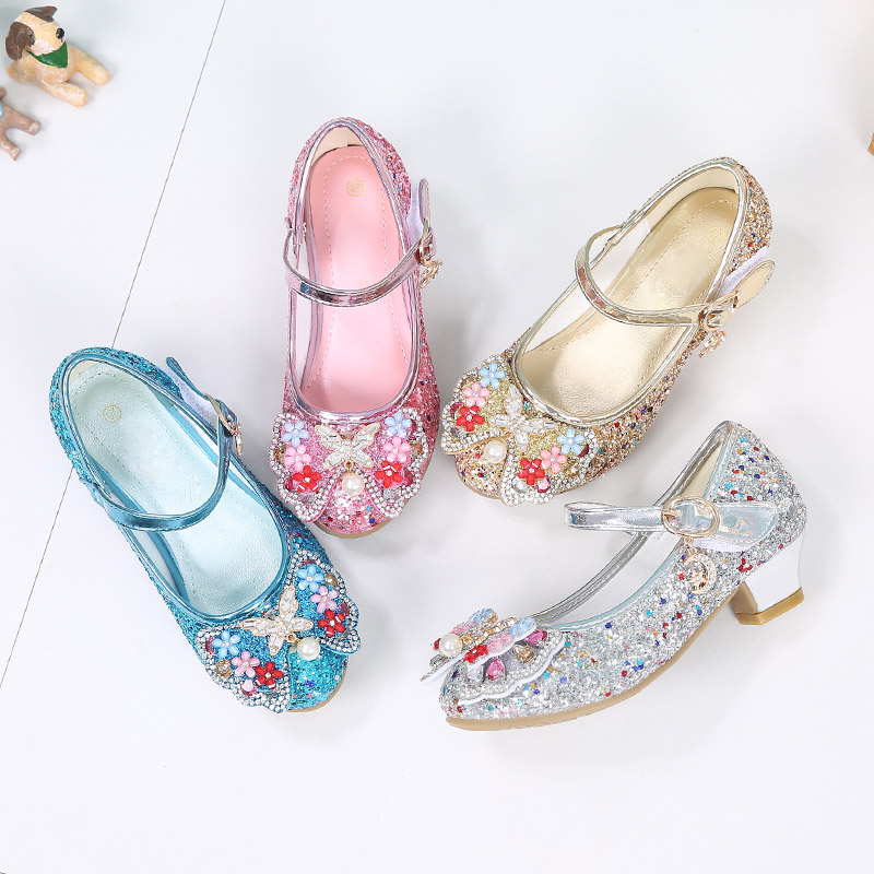 Вечерние туфли принцессы для девочек с блестками для конкурса свадьбы цветочные туфли для девочек подходящие к вечернему платью