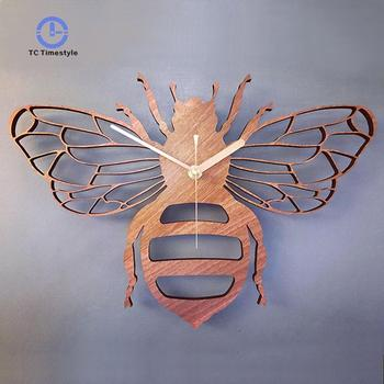 Wooden Wall Clock Bamboo/Wood Bee Hanging Clocks Quartz Living Room Bedroom Decoration Watch Minimalist Office Home Silent Clock