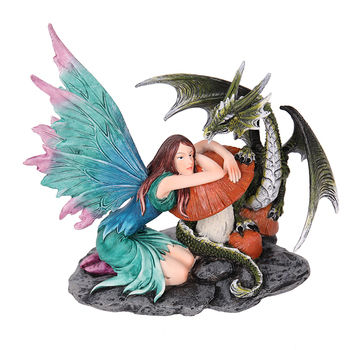 China Manufacturer Resin furnishing articles Poly Fairy Statue With Dragon