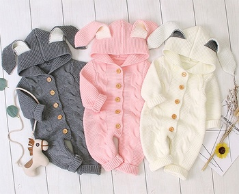 Hot sale baby rompers children's stereoscopic rabbit ears hooded baby+rompers knit baby clothes newborn