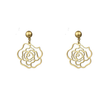 Korea fashionable 925 silver needle retro palace rose simple temperament superior sense earrings ins gold-plated earrings