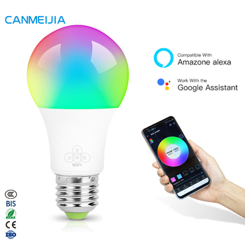 9W E27 E26 7W Lamp Remote Colourful RGB Light Dimmable Alexa Bombilla Foco Inteligente Wifi Led Smart Bulb,Smart Light,Smart Led