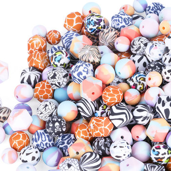 Bulk Blue Red Logo Bead Kit Black Pink Colorful Diy Custom Jewelry Speckle Silicone Beads